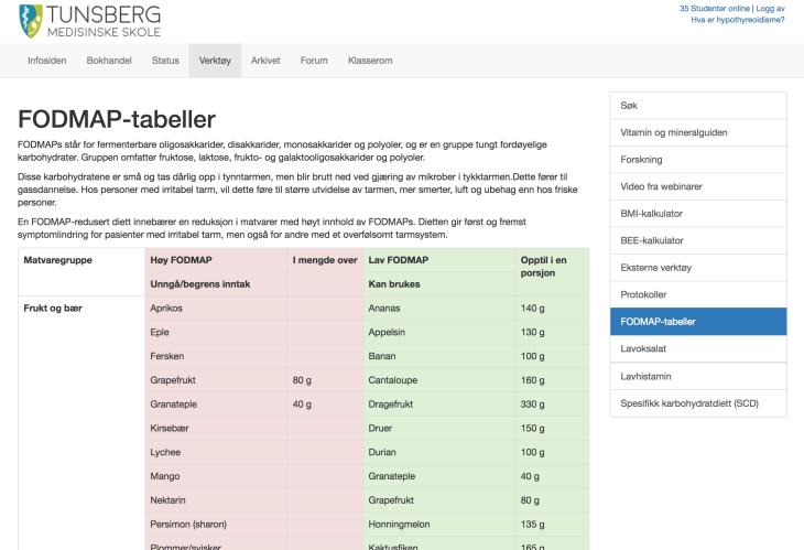 Bildet viser noen av verktøyene til studentene har tilgang til. Protokoller er kun tilgjengelig for ernæringsterapeuter.